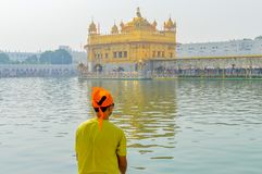 Sikh pilgrim praying in holy tank near Golden Temple Sri Harmandir Sahib, Amritsar, INDIA stock photography