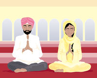 Sikh prayer. An illustration of a sikh man and woman in traditional punjabi clothing praying in a gurdwara with yellow walls and arched windows Stock Image