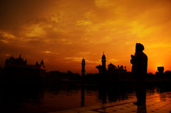 Sikh prayer at golden temple, Amritsar Royalty Free Stock Images