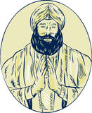 Sikh Priest Praying Front Oval Etching Royalty Free Stock Photo
