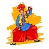 Sikh- Punjabi Sardar som gör bhangradans på ferie som Lohri eller Vaisakhi royaltyfri illustrationer