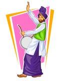 Sikh- Punjabi Sardar som spelar dhol och dansar bhangra på ferie som Lohri eller Vaisakhi stock illustrationer
