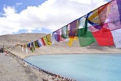 Sikh som ber flaggor förutom Gurudongmar sjön Arkivbilder