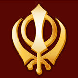 Sikh Symbol. Golden Khanda symbol of the Sikh faith on a red background Royalty Free Stock Photos