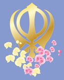 Sikh symbol with orchids Royalty Free Stock Image