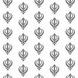 Sikh Symbol Seamless Pattern Grey Stock Photo