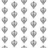 Sikh Symbol Seamless Pattern Grey Stock Photo