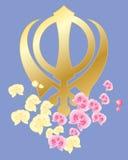 Sikh symbool met orchideeën Royalty-vrije Stock Afbeelding