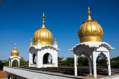 Sikh temple golden domes on the roof. In Makindu, Kenya. Sikhism religion. Guru Singh Royalty Free Stock Photography