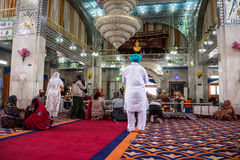 Sikh Temple at Paonta Sahib. Sikh believers are worshipping inside the Sikh temple at Paonta Sahib,india, a Sikh pilgrimage destination Stock Photography