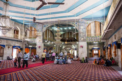 Sikh Temple at Paonta Sahib. Sikh believers are worshipping inside the Sikh temple at Paonta Sahib, india, a Sikh pilgrimage destination Royalty Free Stock Photo