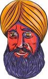 Sikh Turban Beard Watercolor Royalty Free Stock Photography