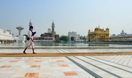 Sikh walking in the Golden Temple, Amritsar Stock Photo