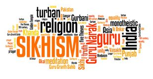 Sikhi. Sm - Indian religion. Asian culture. Word cloud sign Stock Images