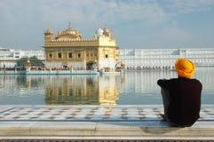 Sikhijczyk medytuje w Złotej świątyni, Amritar, India obrazy stock