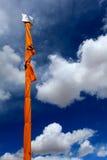 Sikhism holy flag. Against beautiful sky Royalty Free Stock Photography