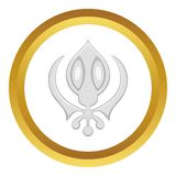 Sikhism symbol vector icon. In golden circle, cartoon style isolated on white background Royalty Free Stock Image