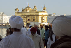 Sikhs at the Golden Temple in Amristar, Punjab, India Royalty Free Stock Image