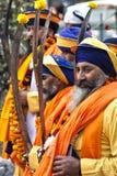 Sikhs em uma celebração em Nova Deli, Índia fotografia de stock