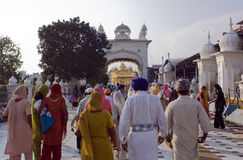 Sikhs at the Golden Temple in Amristar. India, Amritsar, Sikhsl at the Sri Harmandir Sahib or Golden Temple stock images
