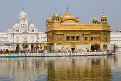Sikhs and indian people visiting the Golden Temple in Amritsar, Punjab, India. Royalty Free Stock Image