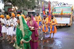 Sikhs in Nagar Keertan celebrations Royalty Free Stock Photo