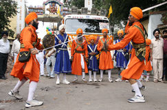 Sikhs in Nagar Keertan celebrations Royalty Free Stock Photos