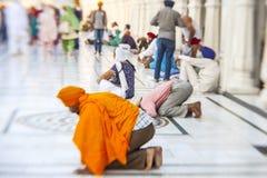 Sikhs y gente india que visitan el templo de oro en Amritsar Imagenes de archivo