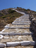 Sikinos Island mountain walkway, Greece. Sikinos Island and main town castle walkway Stock Photo