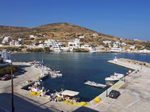 Sikinos Island port, Greece. Sikinos Island and port for fishing and ferry boats Stock Image