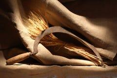 Sikkel en tarwe stock afbeelding