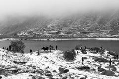 SIKKIM, ΙΝΔΙΑ, στις 9 Μαρτίου 2017: Τουρίστες στη λίμνη Tsomgo Changu Στοκ φωτογραφία με δικαίωμα ελεύθερης χρήσης