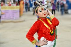 Sikkim folk dancer in traditional costume. Gandhinagar, India - March 9, 2018: Sikkim folk dancer from Nepalese community dressed in traditional costume and stock images