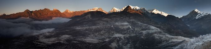Sikkim Mountain Sunrise Panorama Royalty Free Stock Images