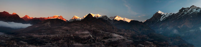 Sikkim Mountain Sunrise Panorama 2 Stock Images