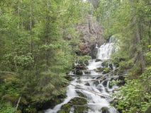 Siklawa Myantyukoski Paanajärvi park narodowy w Karelia Fotografia Royalty Free