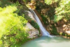 Siklawa Neda w Grecja Turystyczny miejsce przeznaczenia fotografia royalty free
