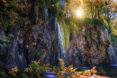 Siklawa przy latem jezior park narodowy plitvice siklawy Obraz Stock