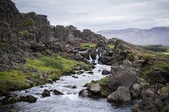 Siklawa przy Thingvellir parkiem narodowym Zdjęcie Royalty Free