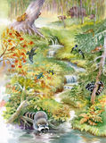 Siklawa w głębokim lesie Zdjęcia Stock