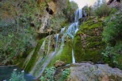 Siklawa w Orbaneja Del Castillo, Hiszpania obraz royalty free