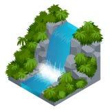 Siklawa w tropikalnej lasowej budowie twój swój infographics kolekcja Wektorowa isometric ilustracja Fotografia Royalty Free