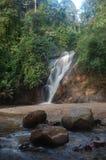 Siklawa w tropikalnym tropikalnym lesie deszczowym z skałą Fotografia Stock