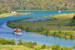 Siklawy na Krka rzece. Park Narodowy, Dalmatia, Chorwacja Obrazy Stock