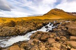 Siklawy Tablelands Gros Morne park narodowy, wodołaz fotografia stock