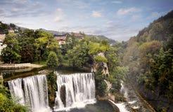 Siklawy w mieście Jajce, Bośnia i Herzegovina, Zdjęcie Royalty Free