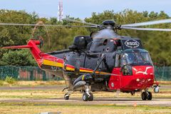 Sikorsky SH-3 Sea King Search And Rescue helicopter taxiing from the. Belgian Air Force Sikorsky SH-3 Sea King Search And Rescue helicopter taxiing from the royalty free stock photos