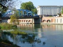 Sikorskybrug op de Rivier van Oder in Wroclaw stock foto