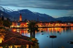 Sikt över Ascona i Schweiz arkivfoton