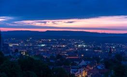 Sikt över Bamberg på soluppgång Royaltyfri Fotografi